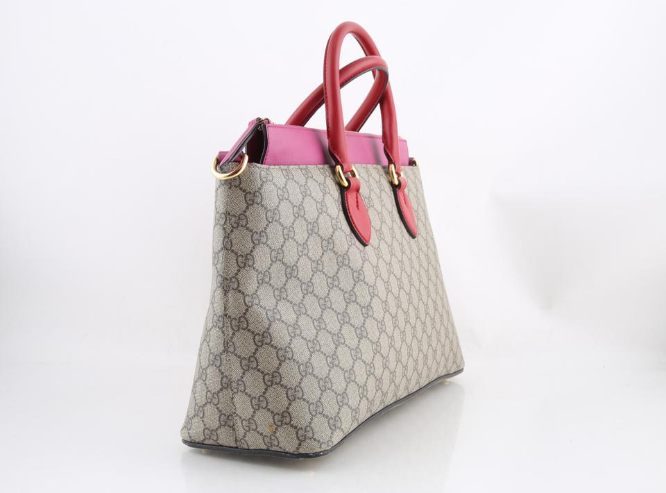 b12fd5fd3d470b Gucci Gg Supreme & Pink Tote with Strap Beige Coated Canvas Shoulder Bag -  Tradesy