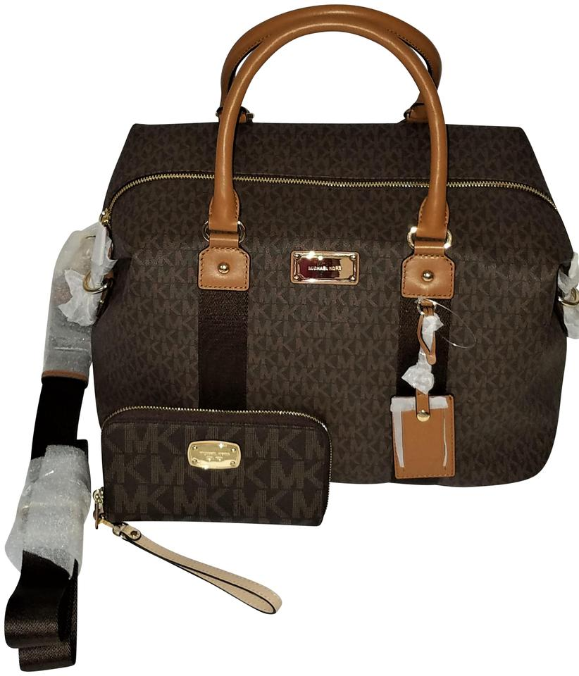 f4af163777897 Michael Kors Set Monogram Set Luggage Multifunction Wallet Brown Travel Bag  Image 0 ...