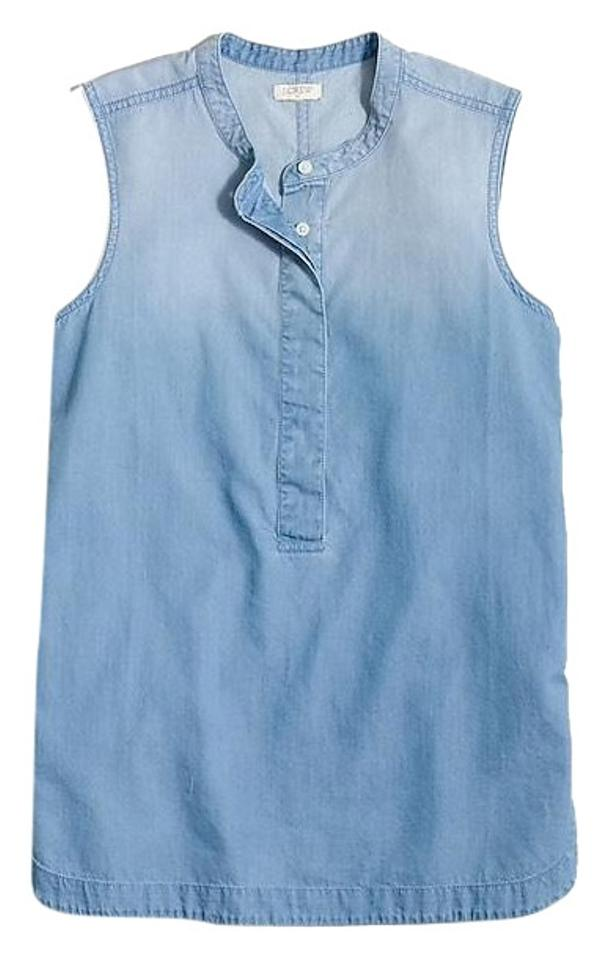 Crew Popover Drapey Blue Tunic J Chambray 7BP1q