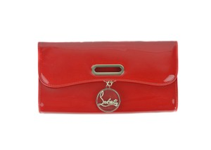 Christian Louboutin Italian Patent Leather Flat Red Clutch