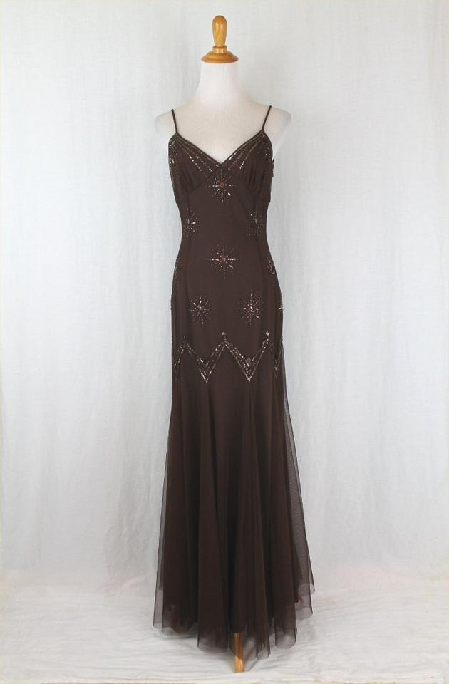 Adrianna Papell Brown Vintage Beaded Tulle 1930\'s Inspired Mermaid ...