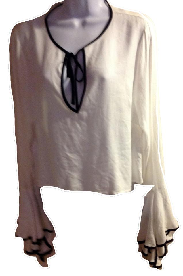 0381a71101746 Forever 21 White Black New Cropped Ruffle Sleeve Blouse Size 12 (L ...