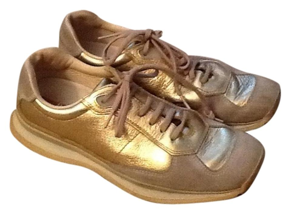Prada Gold Leather Sneakers Metallic Sneakers All rwrxBZT4