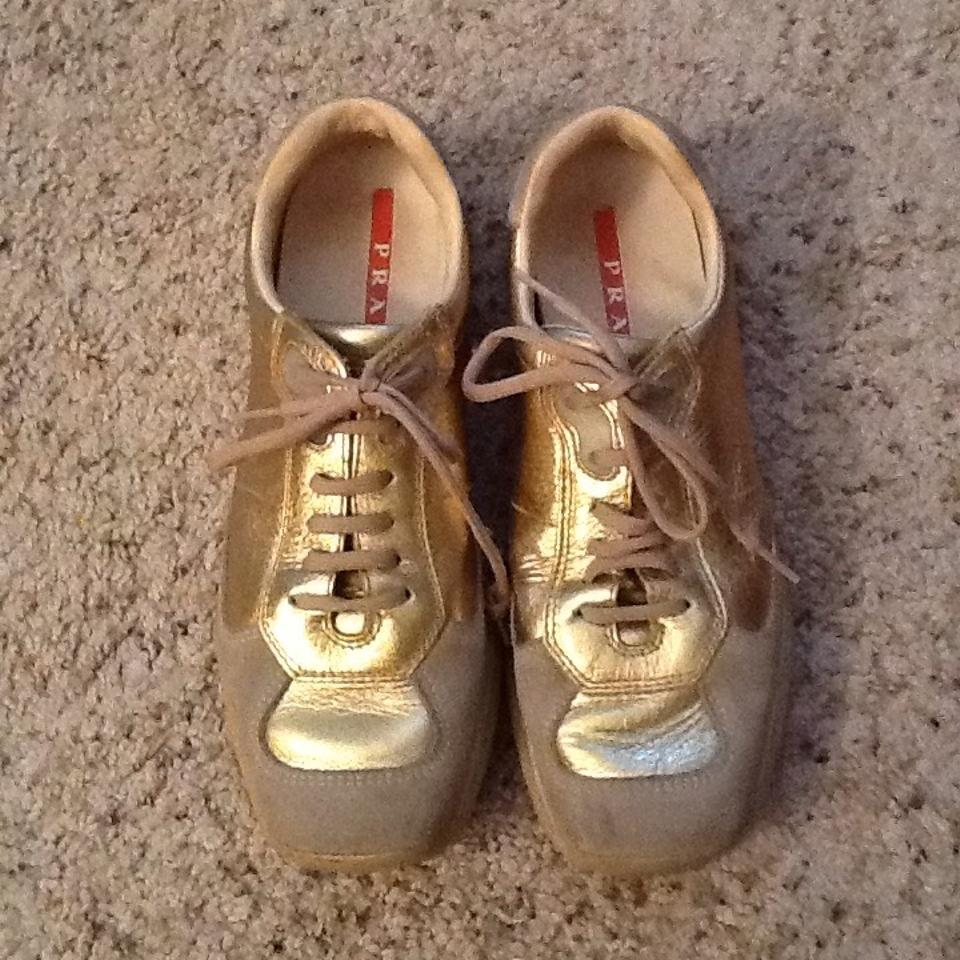 Leather Sneakers Sneakers Prada Gold All Metallic qHxwwzBO