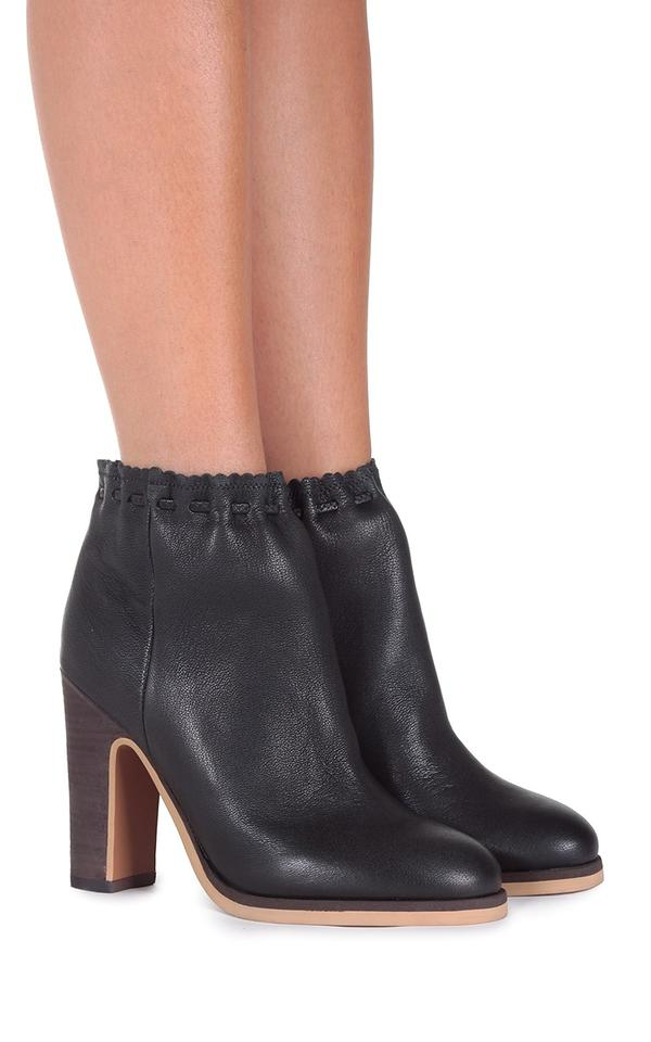 30cd86d2b6374 See by Chloé Black Jane Scalloped Textured-leather Ankle Boots ...