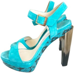 Jimmy Choo Heels Suede Limited Edition Turquoise Sandals