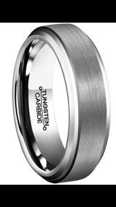 Tungsten Silver Carbide Men's Wedding Band