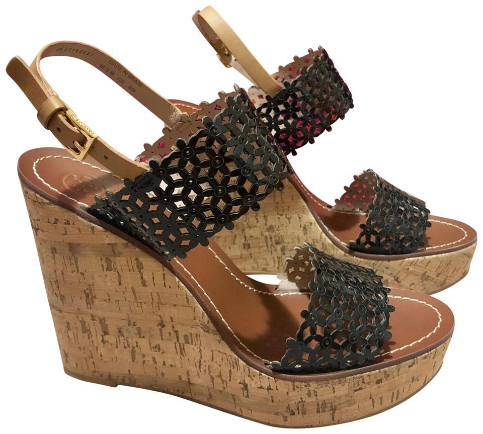 41fdcf7f6cf Tory Burch Black Daisy Perforated 125mm Platforms Sandals Cork Leather Tan  Wedges