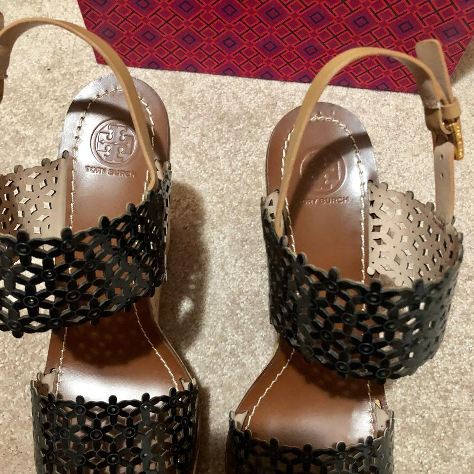 4370fc843ae Tory Burch Black Daisy Perforated 125mm Platforms Sandals Cork Leather Tan  Wedges Size US 10.5 Regular (M