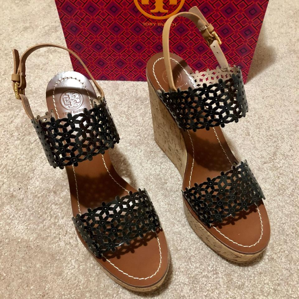 d9a1661ce35 Tory Burch Black Daisy Perforated 125mm Wedges Leather Tan Cork Sandals  Platforms Size US 10.5 Regular (M
