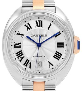 Cartier Cartier Cle 40 Steel Rose Gold Silver Dial Mens Watch W2CL0002
