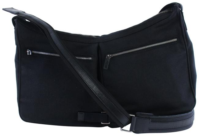 Item - Messenger Hobo Double Pocket 229932 Black Nylon Cross Body Bag