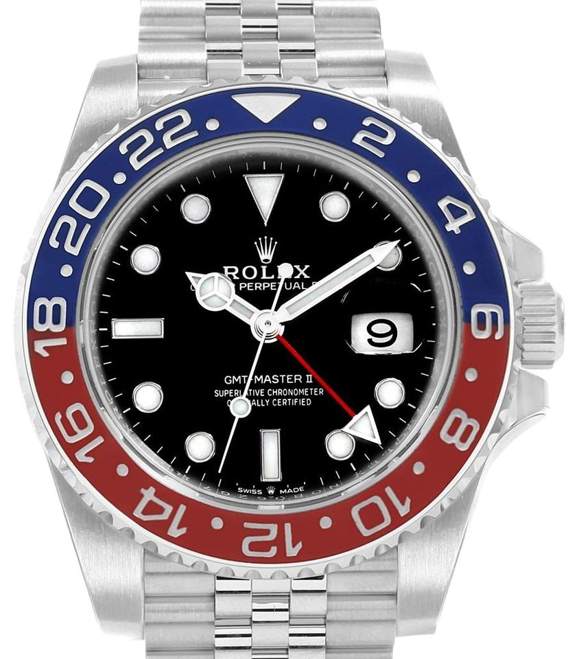 Rolex Black Gmt Master Ii Pepsi Bezel Jubilee Steel 126710 Unworn Watch