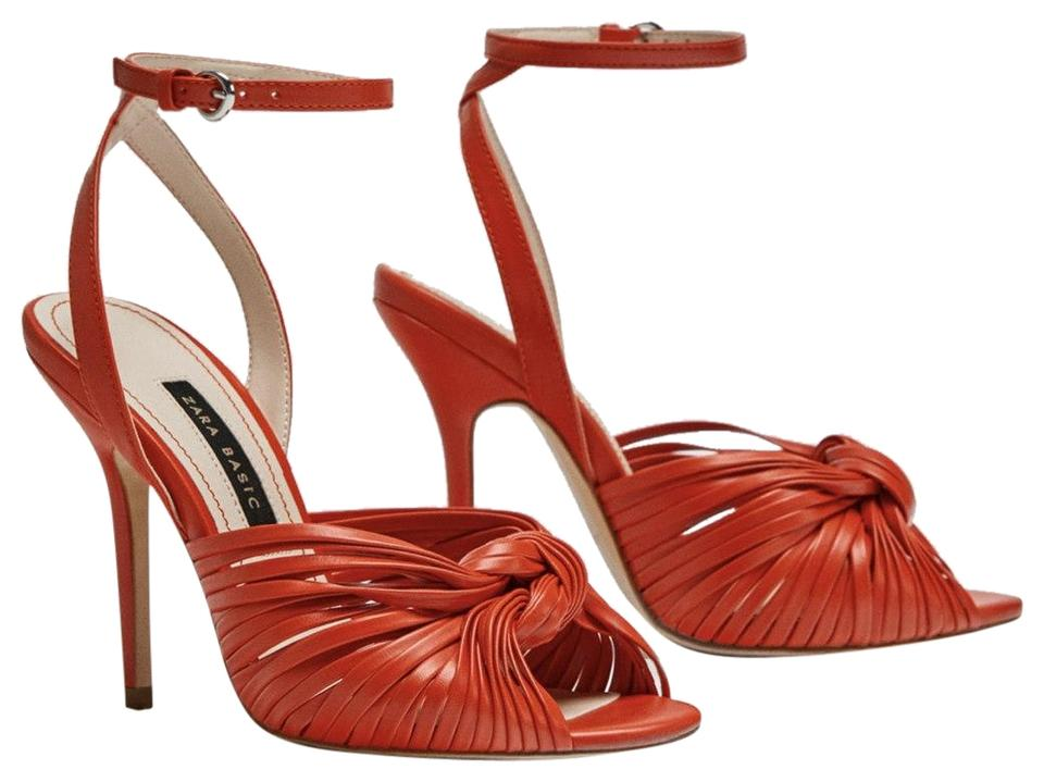 10d286e9b8f3a Zara Red Leather High Heel Sandals with Contrasting Heels Pumps. Size  US 6  Regular ...