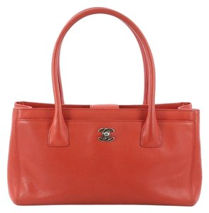 Chanel Leather Tote in red orange