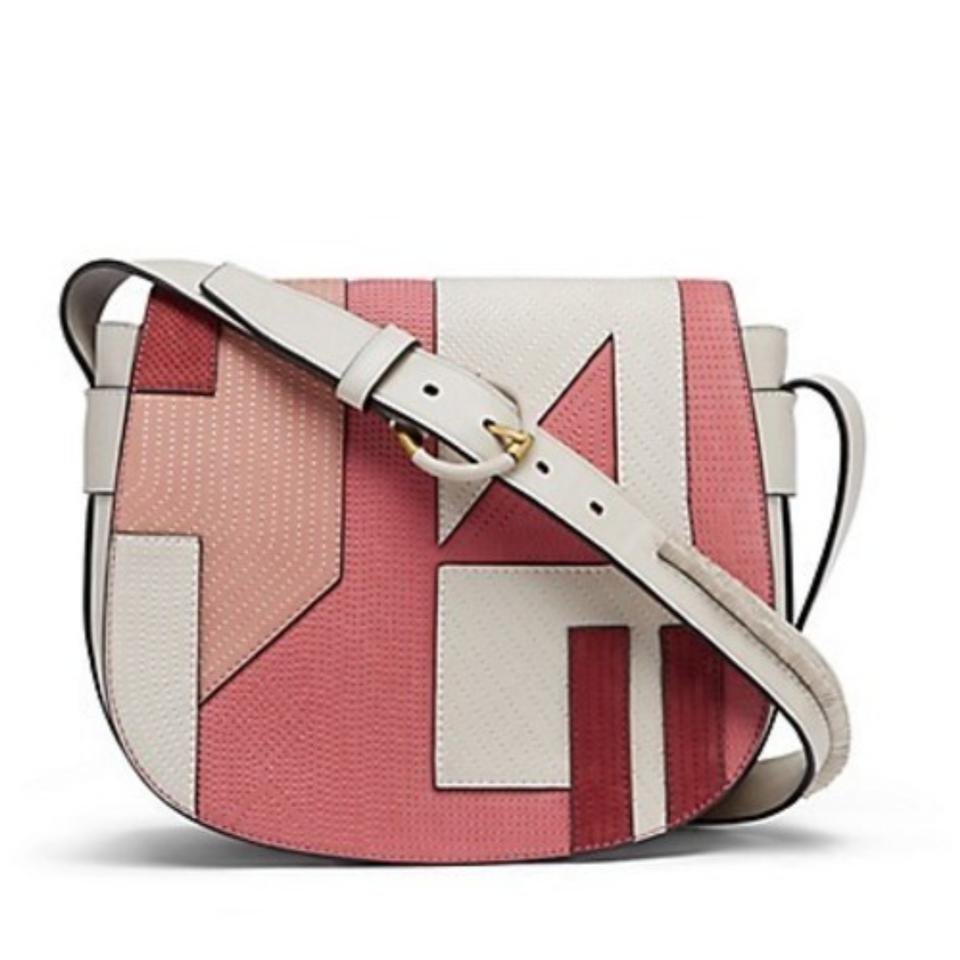White Crossbody Coral Saddle Shoulder Tory Burch Body Cross Bag Leather Patchwork qY4ptg