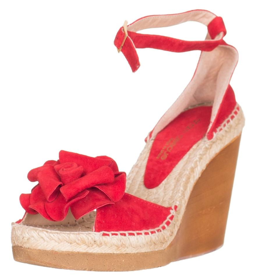 86afabe6ec07 Andre Assous Red Women s Suede Wedge Espadrille Sandals Size US 9.5 ...