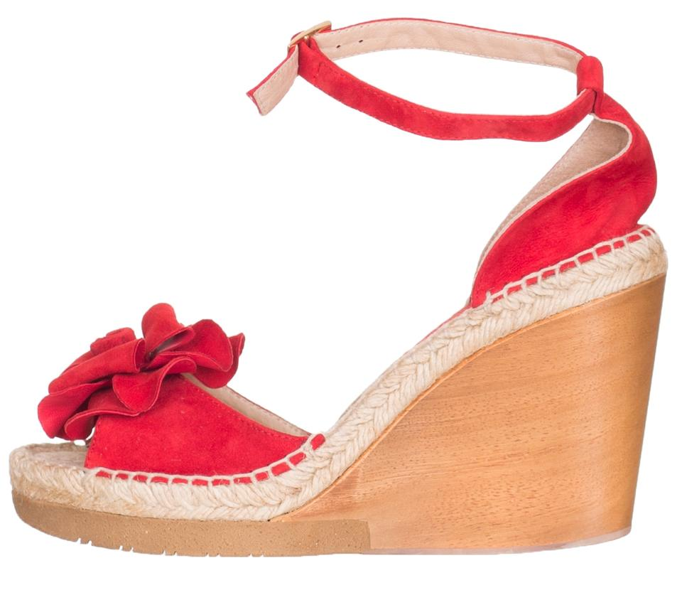266bf643005b Andre Assous Red Women s Suede Wedge Espadrille Sandals Size US 9.5 Regular  (M
