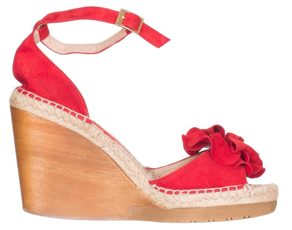 0942e3c424e Andre Assous Red Women's Suede Wedge Espadrille Sandals Size US 10 Regular  (M, B)