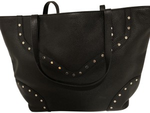 Rebecca Minkoff Leather Studded Silver Hardware Pebbled Tote in Black