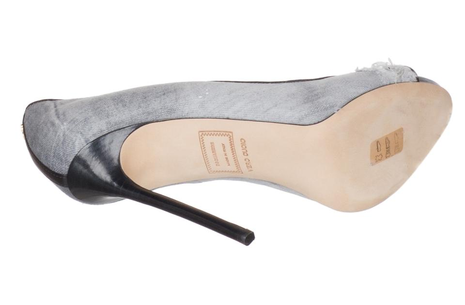 7a7eb9be65a98 Dsquared2 Grey Women's Distressed Denim Open Toe Heels Pumps Size US ...