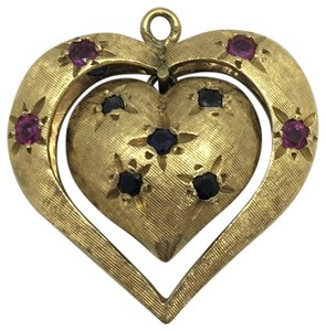 Each x Other 14k Gold Vintage Heart Shaped Ruby and Sapphire Charm Bracelet Charm