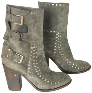 Laurence Dacade Studded Ankle Buckle Closure Suede Grey green Boots