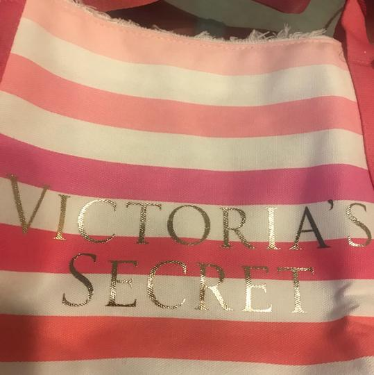 Victoria's Secret pink monotone stripes Beach Bag