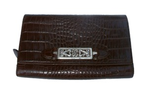 Brighton Croc Embossed Leather ID Checkbook Trifold Wallet