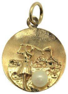 Other 14k Yellow Gold and Pearl Vintage Women's Golf Charm 1959