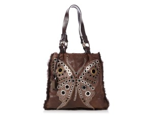 Dolce&Gabbana Grommets Dg.p0724.06 Perforated Fur Leather Tote in Brown