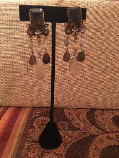 unknown Amber and topaz hanging earrings.