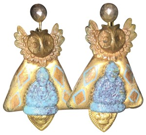 unknown Ceramic, hand-crafted hanging earrings.