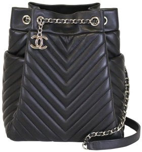 Chanel Drawstring Small Urban Spirit Chevron Black Leather Shoulder ... eea0b0e66d63
