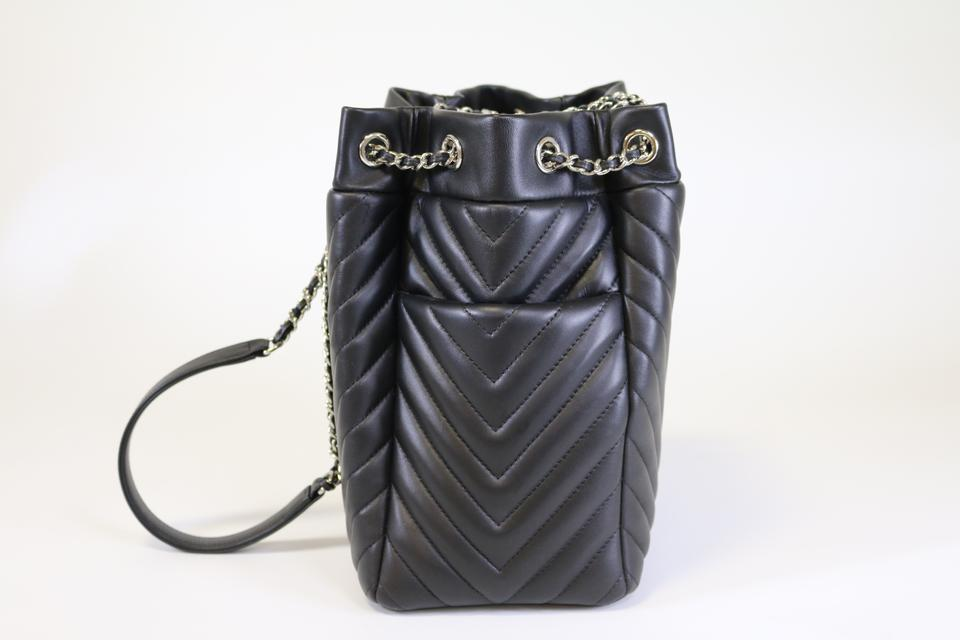 2c9e1379b8d2 Chanel Drawstring Small Urban Spirit Chevron Black Leather Shoulder Bag -  Tradesy