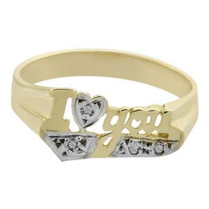 Avital & Co Jewelry 0.04 Carat Diamond 'I Love You' Vintage Ring 14K Yellow Gold
