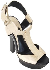 B Brian Atwood Python Sandals 5.5 OFF WHITE Platforms