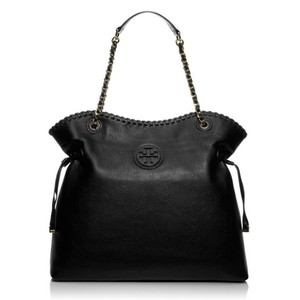 Tory Burch Tb Logo Leather Handbag Tote in Black