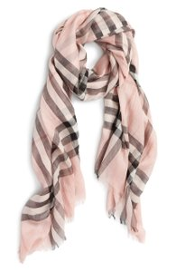 Burberry NEW Burberry Giant Check Wool and Silk Gauze Scarf Ash Rose