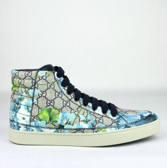 Gucci Blue Men's Bloom Print Fabric Hi Top Sneaker 6.5g / Us 7.5 407342 8470 Shoes