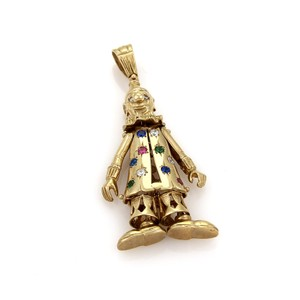Other Large Animated Diamond & Gems 9k Gold Clown Pendant