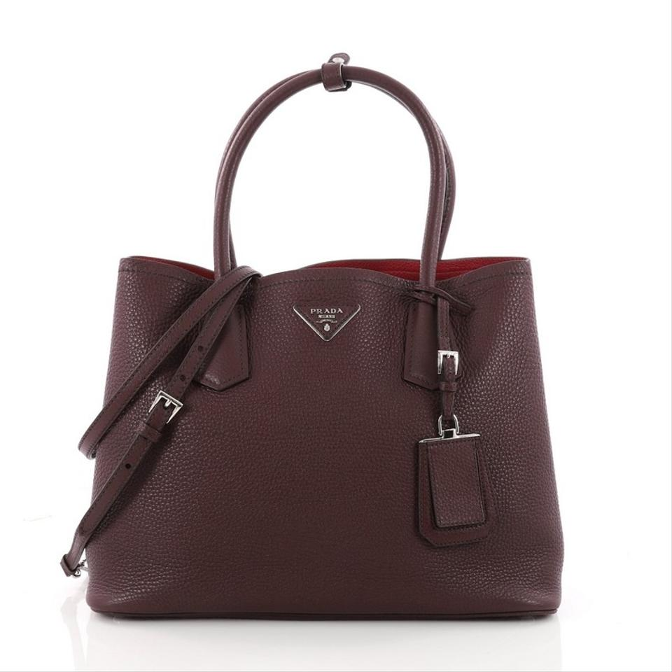 Daino Tote Vitello Leather Double Purple Prada Medium Cuir qt706g