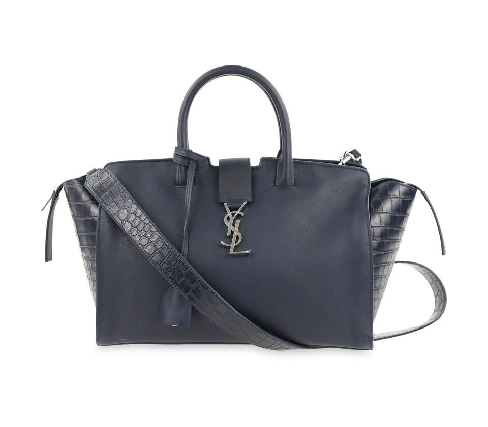 704d64006fa1 Saint Laurent Monogram Downtown Cabas Small Blue Leather Satchel ...
