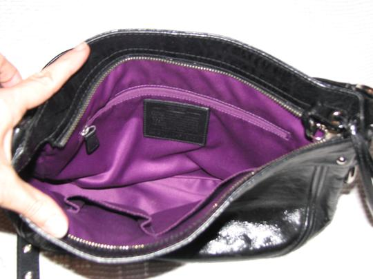 Coach Zoe Patent Leather Pebbled Both Straps Hobo Bag
