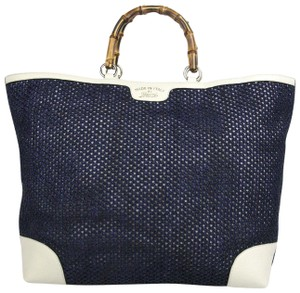 Gucci Top Handle Bamboo Straw Tote in Blue