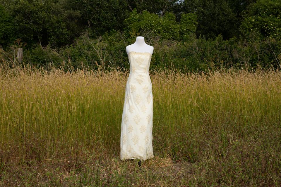 Vintage Wedding Dress 90s: Jessica McClintock Cream Gold Lace 90s Bridal Gown Approx