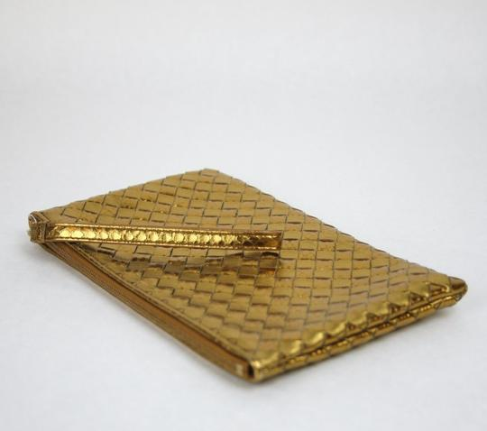 Bottega Veneta Python/Leather Woven Wristlet Gold Clutch