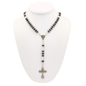 Other Beaded Rosary Onyx & 800 Sterling Necklace
