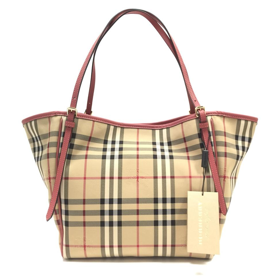 a67c6123caab Burberry London Small Canter  Horseferry Check   Leather Purse Honey    Antique Rose Tote