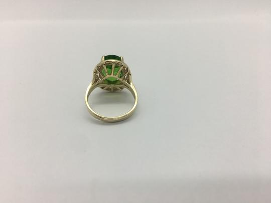 Other 14k Solid Yellow Gold and Lime Green Cubic Zirconia CZ Ring Size 7